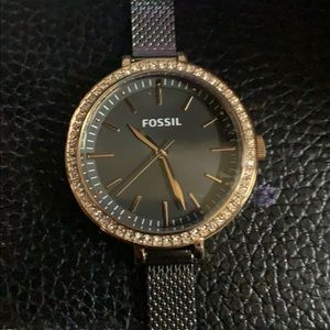 Fossil watch with rose gold and rhinestone face